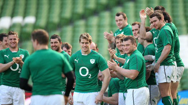 The Ireland players joke with late arrival Brian O'Driscoll
