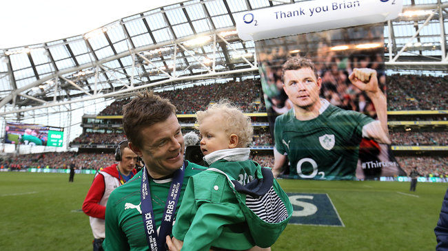 Ireland centre Brian O'Driscoll with his daughter Sadie