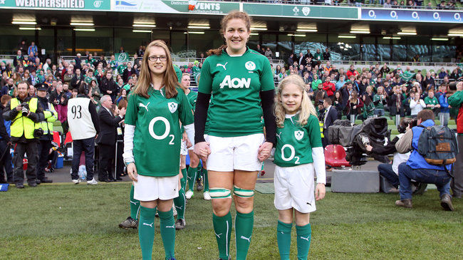 Fiona Coghlan with the team mascots