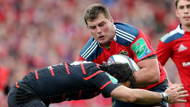 CJ Stander crashes into a tackle from Yoann Huget