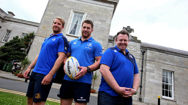 Leinster's Luke Fitzgerald, Sean O'Brien and Matt O'Connor