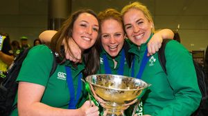 Ireland Women's RBS 6 Nations Winners Arrive Home At Dublin Airport, Sunday, March 22, 2015