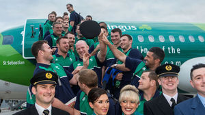 Ireland Squad Departs For Rugby World Cup On 'Green Spirit', Dublin Airport, Wednesday, September 16, 2015