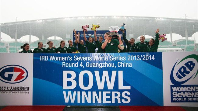 Shannon Houston lifts the Bowl in Guangzhou