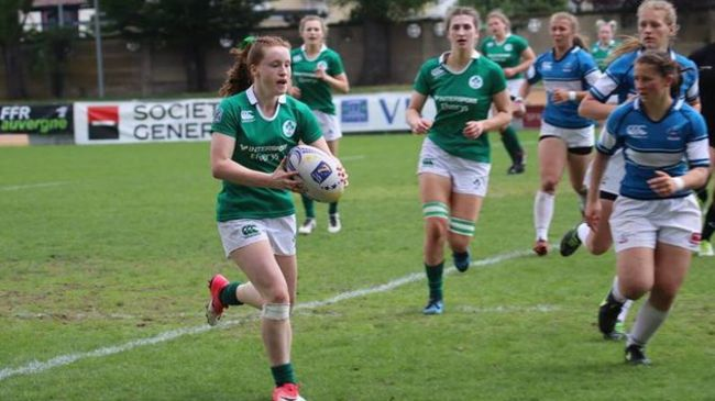 Meabh Deely in action for the Ireland Under-18 Women's Sevens side