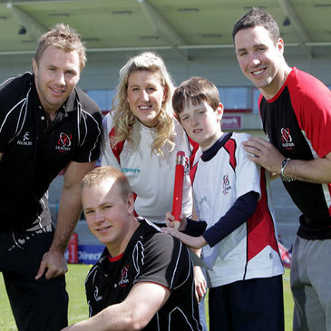 The Ulster players with Adam Whiteside and Centra's Jenni Barkley