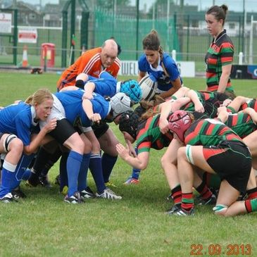 Scrum action from Highfield against St. Mary's