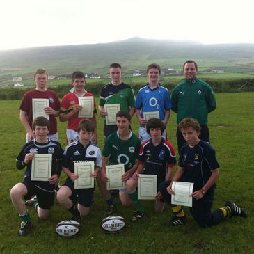 Students at the Gaeltacht Rugby Scholarship in Rugbai Chorca Dhuibhne