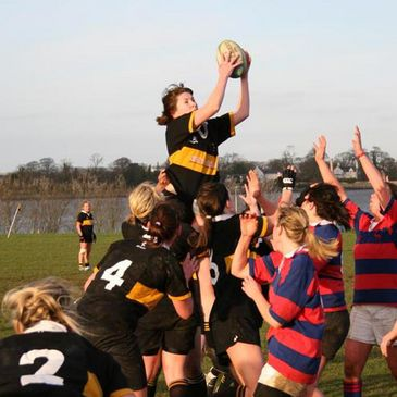 Malahide's women's side in action against Clontarf