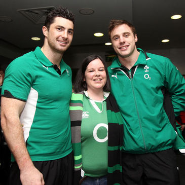 Sarah Lennon with Rob Kearney and Tommy Bowe