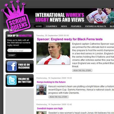 A view of the ScrumQueens.com home page