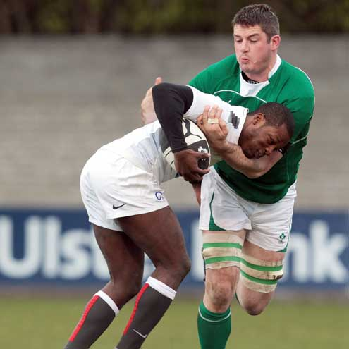 Simon Crawford in action for the Ireland Club side
