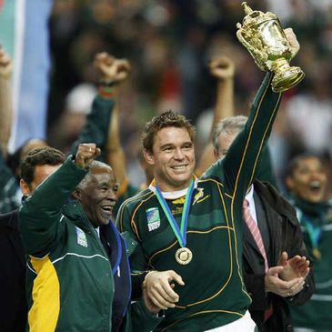 South Africa's John SMit raises the Webb Ellis Trophy at the 2007 Rugby World Cup