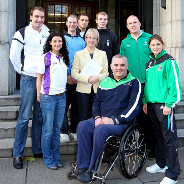 Paul O'Connell and fellow Irish athletes with Minister for Sport Mary Hanafin TD