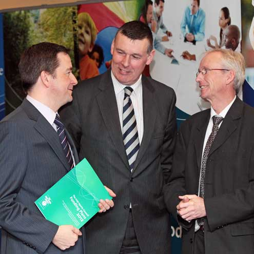The IRFU's Philip Browne with Damien McDonald and John Treacy