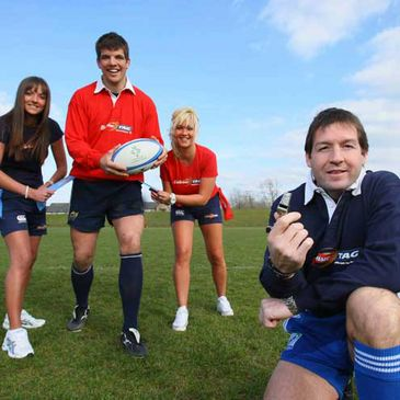Pictured at the announcement of Budweiser's sponsorship of the official IRFU Tag League were Munster and Ireland lock Donncha O'Callaghan and World Cup final referee Alain Rolland with tag players Laura and Yvonne