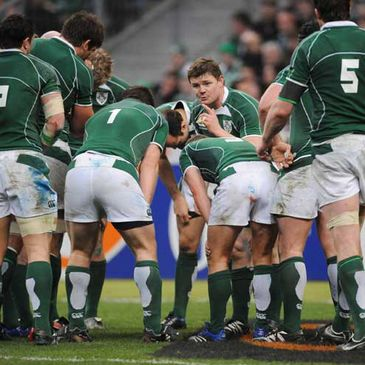 Brian O'Driscoll giving a team talk during Ireland's recent clash with France