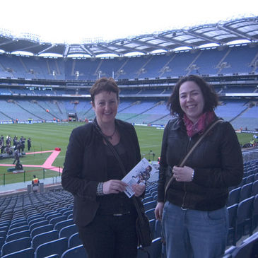 Jean and Laurie in the Hogan Executive Box