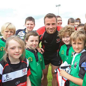 Returning Ulster winger Tommy Bowe with some local fans