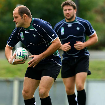 Rory Best and Bryan Young at training