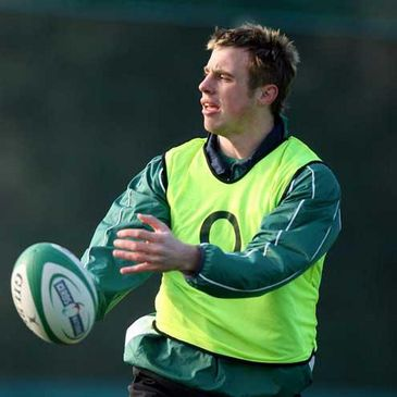 Tommy Bowe training with the Irish squad at UCD