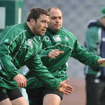 Marcus Horan and Rory Best training at Croke Park