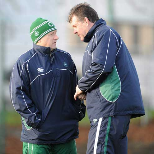 Ireland coach Eddie O'Sullivan with his assistant Niall O'Donovan