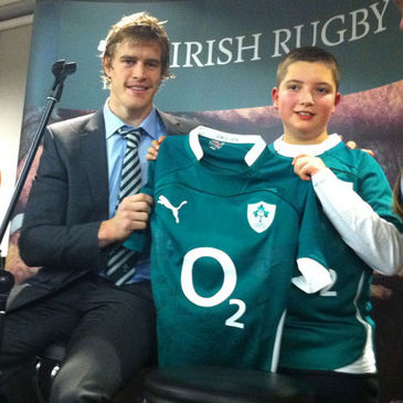 Andrew Trimble with Ben Timmons at the Matchday Event