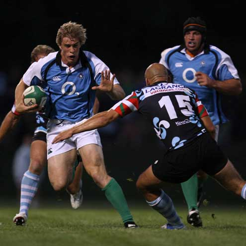 Andrew Trimble taking on Bayonne's Daniel Larrechea