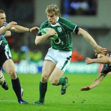 Andrew Trimble on the attack for Ireland against Scotland