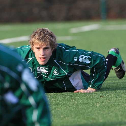 Andrew Trimble training with the Irish squad at UCD