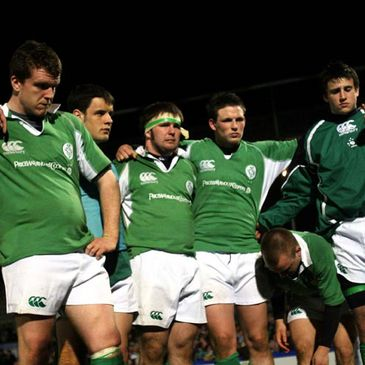 Ireland's players show their dejection after the defeat to Australia
