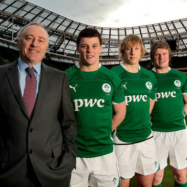 PwC's Ronan Murphy with some of the Ireland Under-20 players