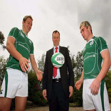Ireland Under-20 players Kieran Essex and Sean Scanlon are pictured with Ken Johnson, a partner of PricewaterhouseCoopers