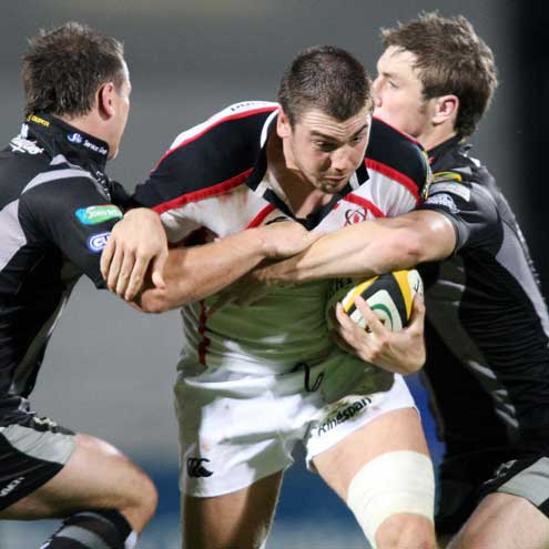 Ulster's Ryan Caldwell on the attack against the Ospreys