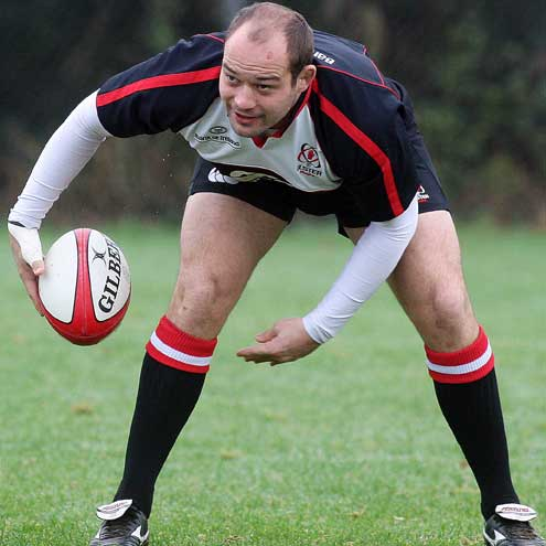Ulster captain Rory Best training at Newforge