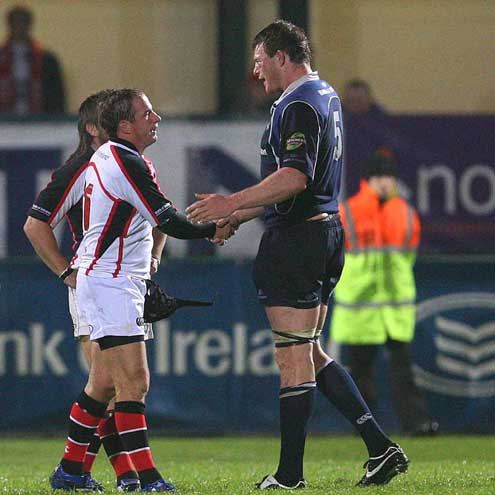 David Humphreys and Malcolm O'Kelly shake hands after the 16-16 draw between Ulster and Leinster