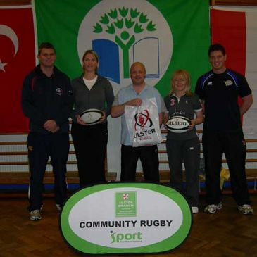 The Tag rugby teachers with Ulster Branch officials