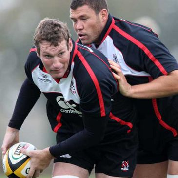 Justin Harrison training with Ulster last month