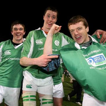 Eoin O'Malley, Ian Nagle and Michael Sherry celebrate Ireland's win