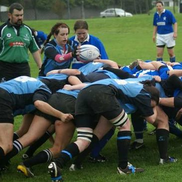 Scrum action from the Galwegians v St. Mary's Women's All-Ireland League game