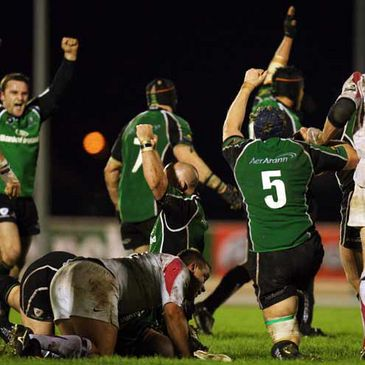 Connacht players celebrate after their famous win over Newcastle Falcons
