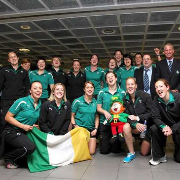 The Ireland Women's squad and management arrive home