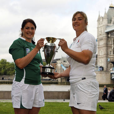 Fiona Coghlan and Catherine Spencer with the Women's Rugby World Cup trophy