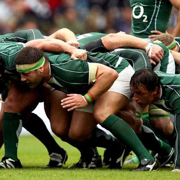 Bryan Young and Neil Best scrum down for Ireland